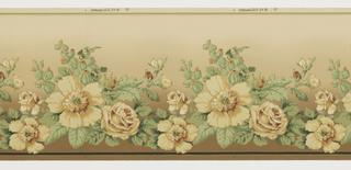 Swag of large flowers and leafs. Background fades from brown at the bottom to light green at the top. Printed in beige, burgundy, and shades of brown and green.