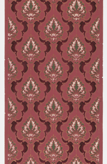 Foliate motif set within a medallion stripe. Design forms a very loose fish scale pattern. Printed in shades of red, green, and white on mauve ground.