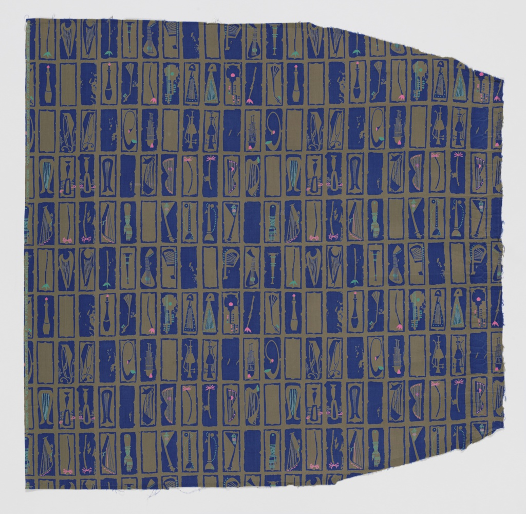 """Yard goods; cotton print, royal blue on olive drab ground with turquoise and bright pink accents, """"Arte Musica"""" by Laura Jean Allen of Associated American Artists, 1955."""