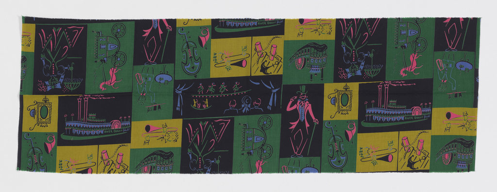"Yard goods; cotton print in black, green, mustard, hot pink, and periwinkle, ""Showboat Jazz"" design of squared vignettes picturing turn-of-the-century men and women, musical instruments, dancing girls, and a riverboat (similar to Associated American Artists prints), early 1950s."