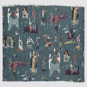 """Yard goods; a Riverdale Fabric, """"Pioneer Pathways"""" designed by Anton Refregier of Associated American Artists, 1952."""
