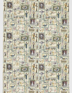 "Yard goods; cotton print in teal, olive green, salmon, gold, and charcoal on a pale yellow ground, ""Country Auction"" by Aaron Bohrod of Associated American Artists, 1952."