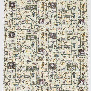 """Yard goods; cotton print in teal, olive green, salmon, gold, and charcoal on a pale yellow ground, """"Country Auction"""" by Aaron Bohrod of Associated American Artists, 1952."""