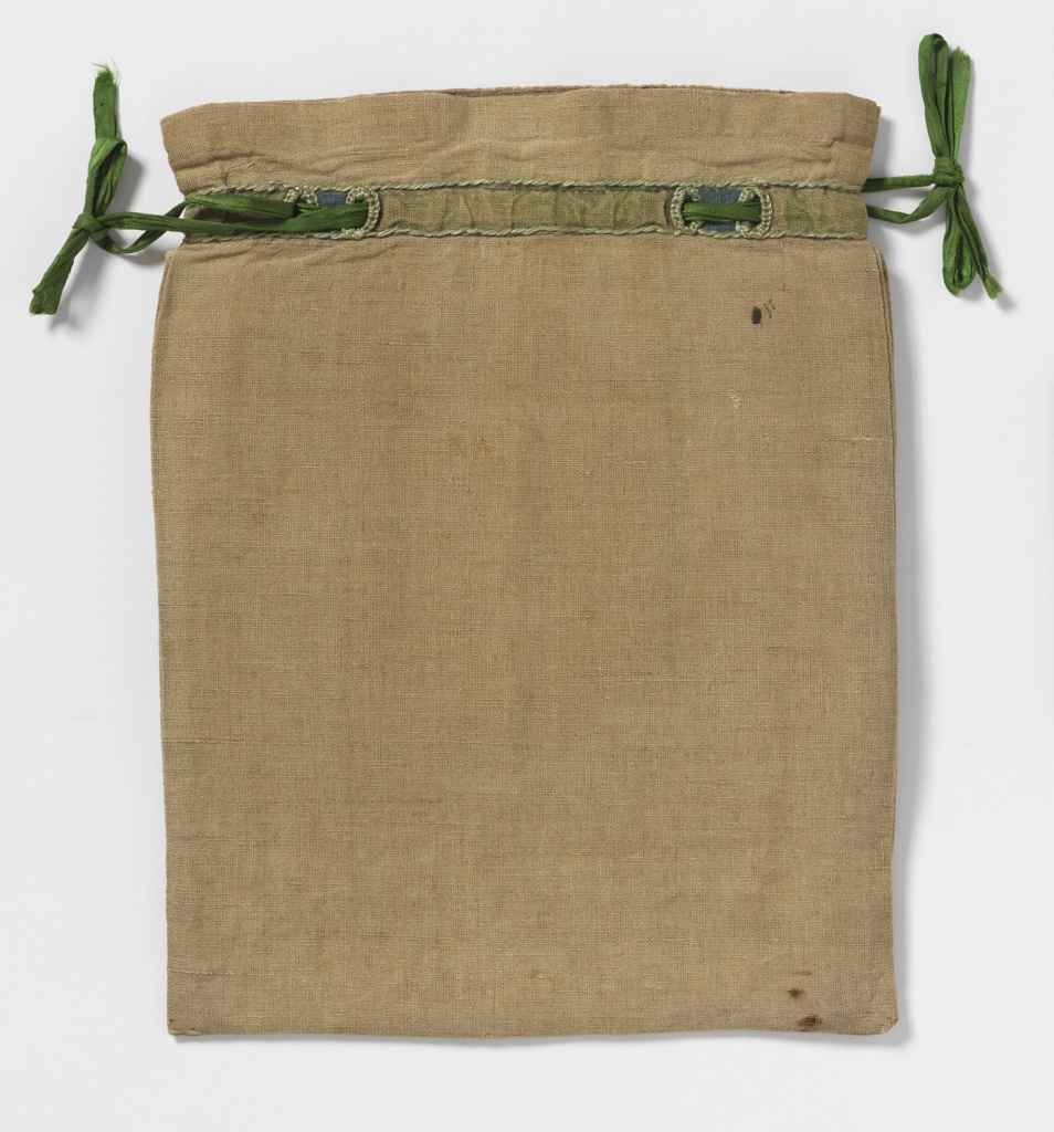 Linen sewing bag embroidered in the Arts and Crafts style. Bag has a front flap which creates an interior pocket. One inch below the top a green silk ribbon is threaded through a casing stitched with green thread. Embroidered in blue, green and dark rose in geometric shapes outlined in black.