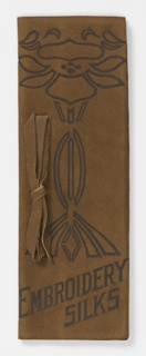 Brown leather case with embossed floral motif in the Art Nouveau style. Inside are eight sheets of folded paper in yellow, pale blue-green, and tan. Leather ribbon tied in a bow.