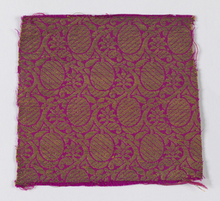 Close-set small scale design of parallel serpentining stems bearing oval fruit, apeparing in horizontal rows and small leaves and flowers. In gold on cerise silk ground.