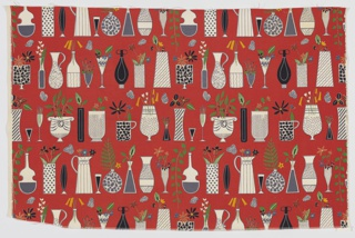 "Yard goods; a Riverdale Fabric, ""Curio Cabinet"" designed by Doris Lee of Associated American Artists, 1952."