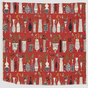 """Yard goods; a Riverdale Fabric, """"Curio Cabinet"""" designed by Doris Lee of Associated American Artists, 1952."""