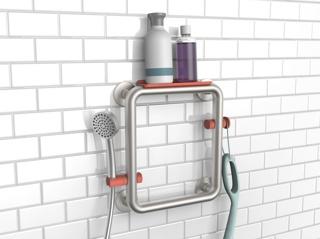 Prototype, Shower Trellis Grab Bar with Shelf, Sprayer Holder, and Hook, 2016