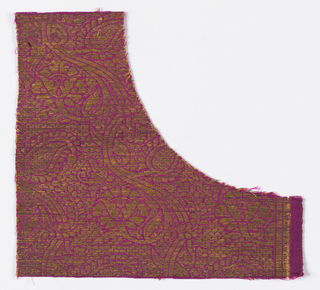 Close-set all over design of twining flowering branches with variously shaped elaves and compound flowerheads. In bright gold ond deep purple ground. Wide twill selvage set off by two stripes formed by metallic weft floats.