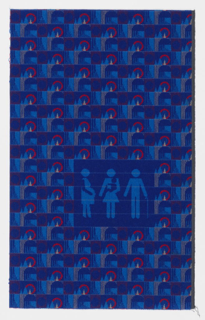 Sample of pile woven fabric with a small-scale, grid-based geometric design in medium blue, light blue, gray, and red, with pictogram of a pregnant woman, a woman carrying an infant, and a person with a cane.