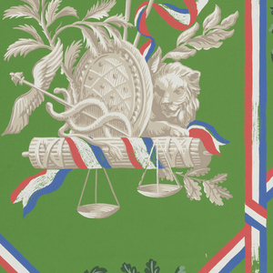 "a) On bright green background divided by vertical bandings and large X's formed of red, white, and blue crossed ribbons; in beiges with tri-colored ribbons and banners, two trophy groupings, which alternate vertically with drop-repeated green wreaths of oak leaves and acorns. Trophy group on left includes: lion, caducens, scales, liberty cap, fasces;right: cock, spears, shield, pitchfork, scythe, fasces, banner inscribed ""Patri, Egalite, Liberte."" b) Same except light blue background."
