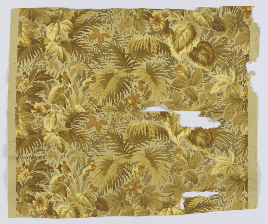 On metallic gold ground, yellow and tan ferns alternate with lush orange flowers and tan foliage.