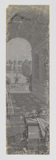 """Set of scenic wallpaper """"Les Amours de Psyche"""", consisting of 26 panels, printed in grisaille on machine made paper. Scene depicts Psyche showing her jewels to her sister."""