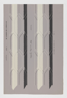 Inspired by iron columns at Royal Pavilion, Brighton, England. (a) contains capitol of palm leaves, the top section of the pilaster, and the base, all to be cut out and applied; (b) contains two pilaster sections of equal size.
