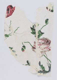 Bright red and gray flowers, with buds, on vines. Printed on a polished or satin white ground.
