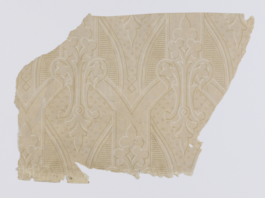 "a) On off-white patterned ground, alternating fleur-de-lis-like motif highlighted and shadowed to appear embossed; b,c) both contain the same design. Diaper pattern with acanthus medallions containing foliate motif. Printed in yellow-green and metallic silver on off-white moire background. b. On gold metallic ground, alternating medallions of metallic silver and gold framed by plumes of gold with grey-blue dots. c. same as ""b"" above"