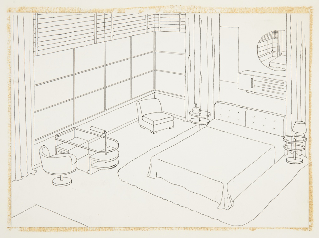 Drawing, Design for Bedroom with Mirrored Wall