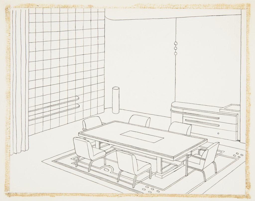 """Drawing, Design for Dining Room, """"Contemporary American Industrial Design"""" Exhibition, Metropolitan Museum of Art, New York, NY"""