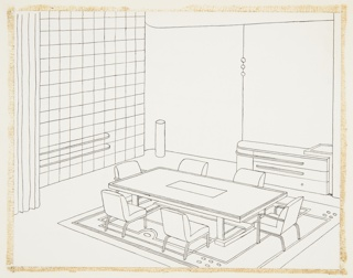 "Drawing, Design for Dining Room, ""Contemporary American Industrial Design"" Exhibition, Metropolitan Museum of Art, New York, NY"