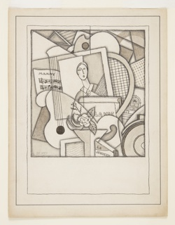 Cubist composition of overlapping forms including, at center, a framed picture of a woman holding a rose and surrounded by sheet music headed, in upper case, Mammy; on the left, a guitar; on the right, a tennis racket and architectural