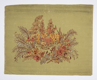 Two boys and two large dogs at watering trough. Surrounded by foliage. Printed in metallic colors and burgundy flock on light green fabric support. Flitter shade with applied gold mica flakes.