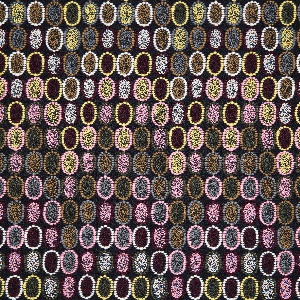 A navy wool ground embroidered with a grid of elongated ovals, each outlined with raised dots and filled with a tiny hatch-work of crosses in brown, purple, olive, yellow, and pink.