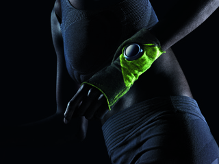 Pair of knitted sport cuffs in black and neon green.