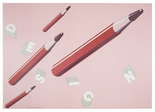 On pink ground, four red pencils with black tips floating upward at a diagonal, each a different size. Across the composition are 3D block letterforms in pale green spelling DESIGN.