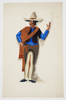 Study of a standing figure, seen frontally with right hand on hip, holding a pistol in its holster and left hand raised, holding a cigarette. The figure's face is turned in left profile and wears a sombrero on their head. Figure is dressed in a blue shirt, a black short-sleeved shirt, a long brown scarf, tan pants, and brown leather chaps.