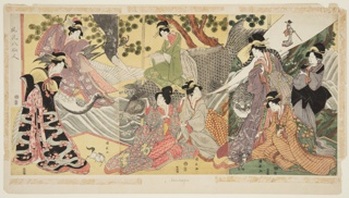 """Three panels joined to form a single composition. Description on verso of mount as follows: """"Beauties impersonating the eight sennin - Immortals.  Kinto beauty on carp-steed located in center which she conjures a small horse.  In front of the carp, Chinnan, holding a bowl from which issues a column of smoke enveloping a dragon.  At her right sits Tekkai breathing forth a diminutive reproduction of herself.  To the right, and facing the latter, stands Korejin with his tiger companion, the tail of which rises - true to tradition - in a sweeping curve back of the lady's head.  Next, at the right, stands Chokinka cutting fragments of cloth from her garments, and tossing them into the air, where they instantly turn into butterflies.  And below, in his kneeling position, Gaga-Sennin plays with his fabulous toad."""""""
