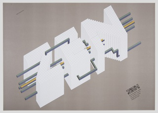 On brown ground, white typographical design with the word ZEN in 3D letters composed of many small white cubes. Running through the letters are linear pipes with various bends that connect the Z, E, and N.