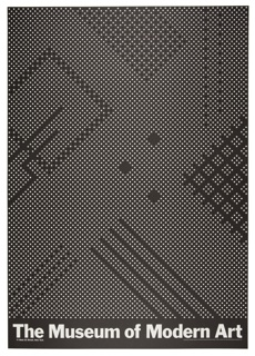 On black ground, white dots arranged in linear and square groupings create a geometric pixelated pattern.