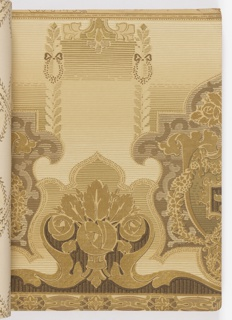 Selection of wallpaper samples, bound in embossed black paper cover. The entire book contains matching sidewall, frieze and ceiling combination papers. Samples include metallic colors, grape cluster dining room papers, floral stripes for bedrooms, oatmeal papers, landscapes, cut out borders, and tapestry papers.