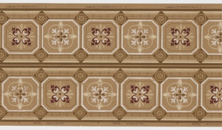 On dark beige ground, alternating tiles outlined in white containing quatrefoil floral motifs in burgundy, pink, light blue and white. Two borders printed across the width.
