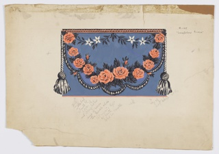 Design for wallpaper frieze. Simulates a drapery swag with central garland of pink roses. Smaller foliate and floral swag at top. Cording along bottom of drapery, with a tassel suspended from either end of swag. Printed on deep blue ground.
