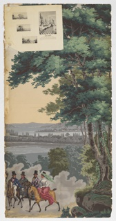 Large tree at right. At left, three men and a woman on horseback against a background of New York Bay. Strip 5 and 6 from a set of 32.