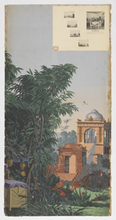 At left, a palanquin or hand-borne carriage resting on the ground. At right, background, a view of an esplanade in Calcutta, with steps leading to a temple. Two strips of a set of 20.