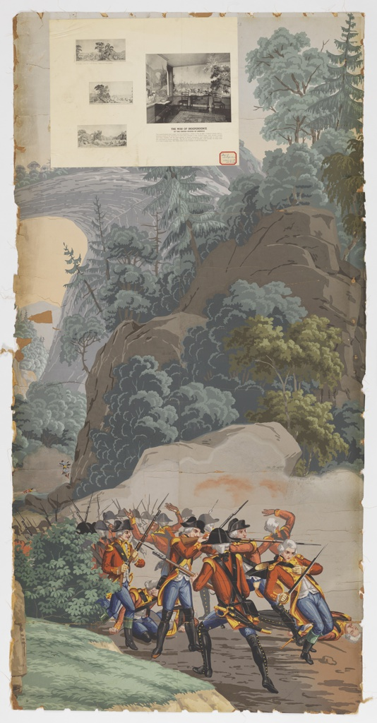 """The background of """"Scenic America"""" is used for scenes of the American Revolution. At the left, background, is seen the natural bridge, Virginia; in foreground, British troups are retreating, firing as they do so. Strip 25 and 26 from a set of 32. Paper label affixed to top left corner."""