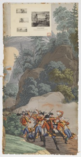 "The background of ""Scenic America"" is used for scenes of the American Revolution. At the left, background, is seen the natural bridge, Virginia; in foreground, British troups are retreating, firing as they do so. Strip 25 and 26 from a set of 32. Paper label affixed to top left corner."