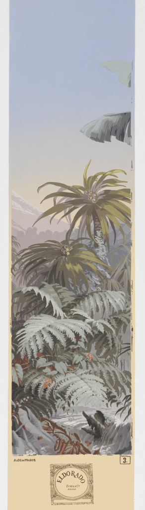 Panel No. 3 depicting palm foliage and trees, part of a mountain and sky. Panel contains full manufacturer label at bottom.