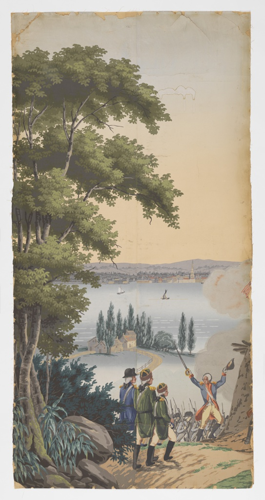 """The background of """"Scenic America"""" is used for scenes of the American Revolution. The taking of an English redout on the hills of Weehawken by American Militia and volunters, assisted by French troops. Across the bay is New York City. Strips 1 and 2 from a set of 32."""