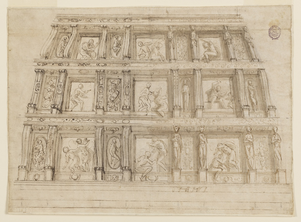View of a wall seen slightly from below. Space divided horizontally into three bands of ornament. Each level shows pilasters and caryatids supporting an entablature. Between these are figural scenes and trophies.