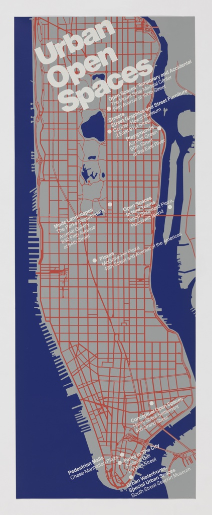 """Gray map of Manhattan, Randall's Island, and portions of Staten Island, Brooklyn and Queens. Areas of water depicted in blue. Manhattan features a white street grid with architectural and environmental spaces identified in white. Poster publicizes the exhibition """"Immovable Objects III: Urban Open Spaces"""" held at Cooper-Hewitt, National Design Museum in New York from June 26, 1979 – September 3, 1979."""