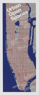 "Gray map of Manhattan, Randall's Island, and portions of Staten Island, Brooklyn and Queens. Areas of water depicted in blue. Manhattan features a white street grid with architectural and environmental spaces identified in white. Poster publicizes the exhibition ""Immovable Objects III: Urban Open Spaces"" held at Cooper-Hewitt, National Design Museum in New York from June 26, 1979 – September 3, 1979."