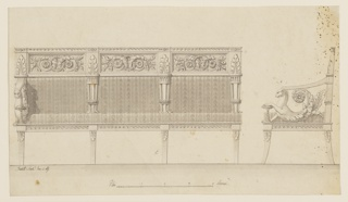 At left, the elevation of a sofa divided into three sections, the arm shown at the left.  At right, the left end of the sofa shown in profile.  The sections are bordered below by the legs, at the back by tripods. Above the upholstery is a frieze, divided in panels with acanthus scrolls fastened by a wreath, and pilaster strips, above the tripods and the arms, with acanthus leaves. The arms are supported by half-figures of animals with acanthus scrolls. Their left legs lie upon a cup. Colored base strip scale at bottom. Verso: sketches referring to frames of looking glasses and mouldings with inscribed captions.
