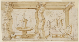 Horizontal rectangle. The roof of the porch rests upon two pillars at right and upon two pairs of curved columns at left and center. In the compartment at left a fountain, at right two figures sitting on a bench at a table. In the garden, putti and plants.