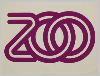 Two thick purple lines oriented horizontally across the center of the paper form interconnected letters spelling out: zoo.