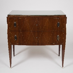 Slightly serpentine rectangular top above two long drawers, the fronts inlaid with ivory lozenge stringing, on four tapered legs, the two front legs with canted outer edge inlaid with an ivory fillet with scrolling volute at top and ivory sabots.