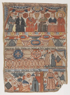 The top scene illustrates the Marriage in Cana with a feast, followed below by the scene of Jesus transforming water into wine. The bottom two scenes show Hagar and Ishmael, and David and Goliath.